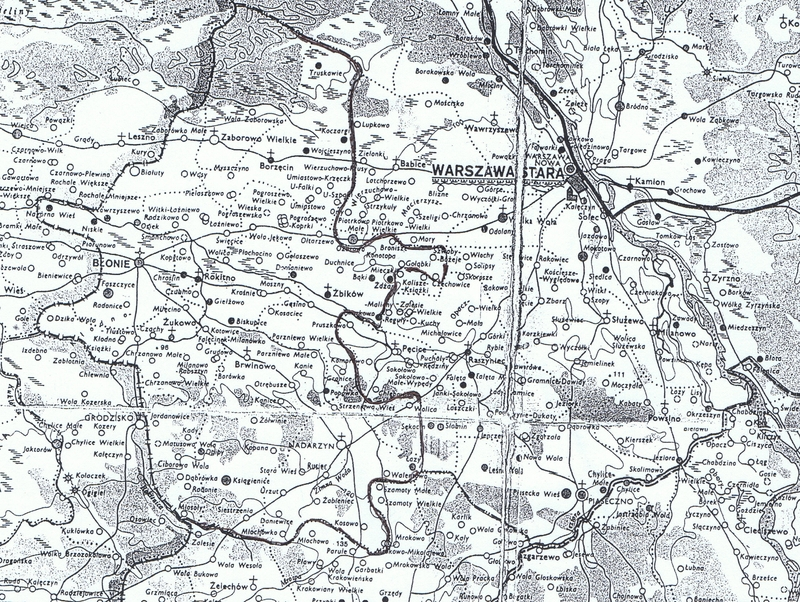 """Fragment mapy z """"Atlasu historycznego Polski. Mazowsze w drugiej połowie XVI wieku"""" PWN, Warszawa 1973 r."""