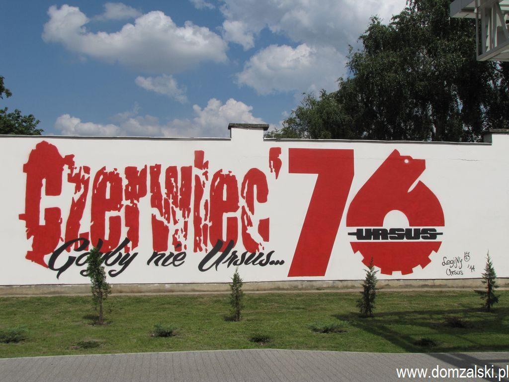 Mural poświęcony wydarzeniom 1976 r. w pobliżu przystanku kolejowego Ursus Niedźwiadek. Wykonali go wierni kibice Legii Warszawa.